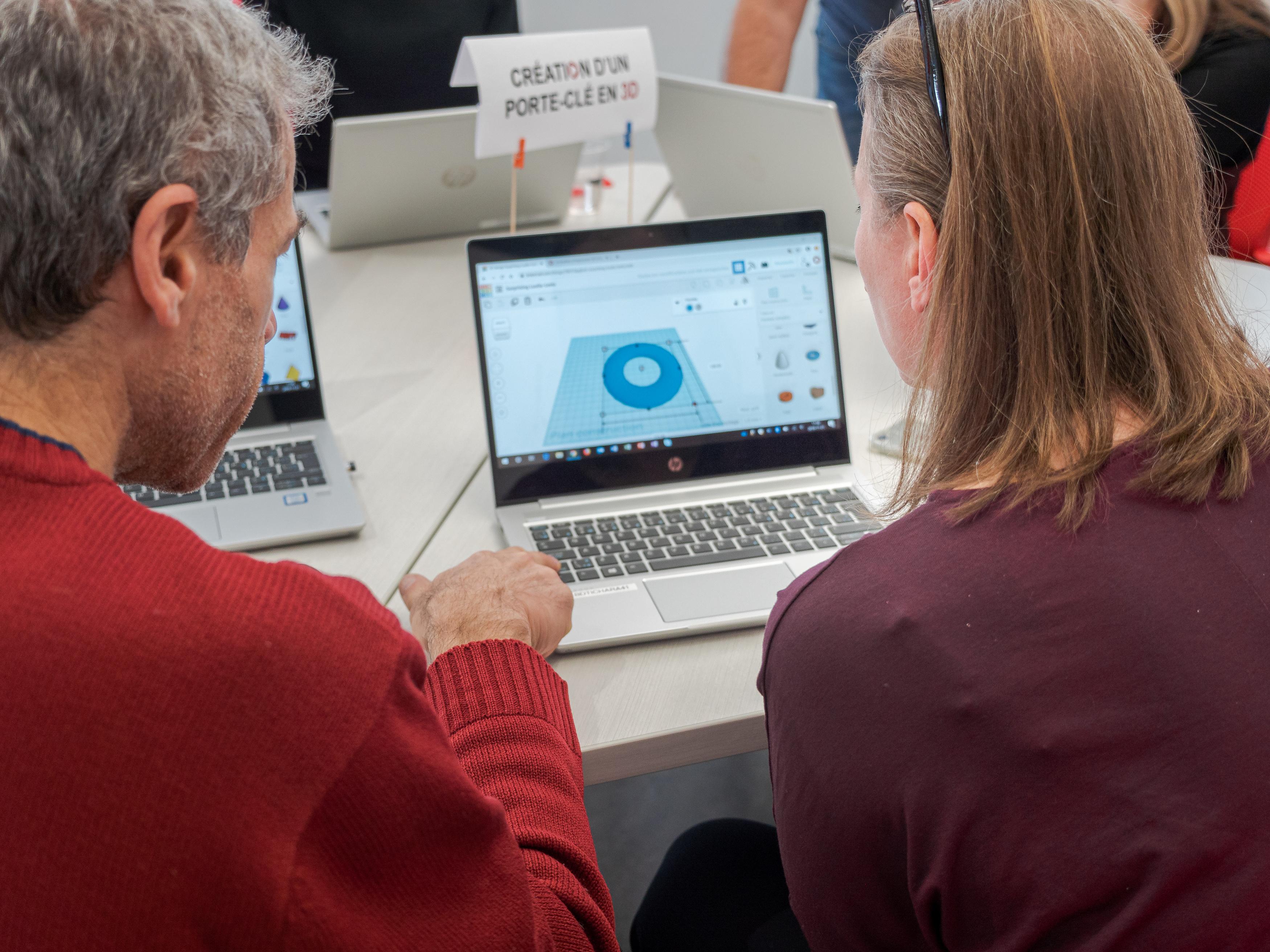 Deux professeurs collabore pour faire la création d,un modèle 3D avec Tinkercad.